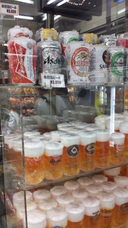 Plastic beer at the plastic food store
